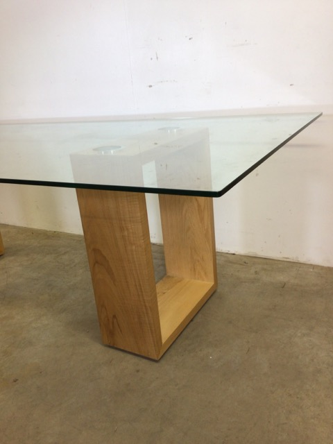 A large modern Abbas glass table with oak supports. W:240cm x D:120cm x H:76cm - Image 2 of 8