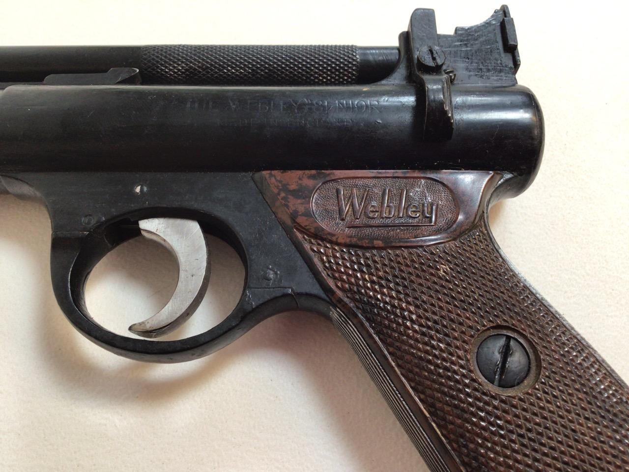 A Webley Senior air pistol. Webley and Scott ltd Birmingham. W:22cm x H:14cm - Image 5 of 6