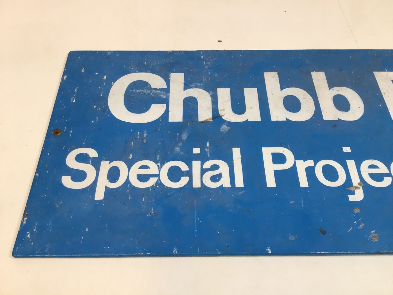 A Chubb Fire Special projects group sign on hardwood board. W:78cm x H:33cm - Image 2 of 4