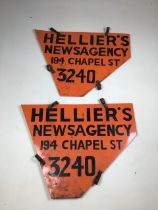 A pair of early 20th century enamel double sided shop advertising signs. Helliers Newsagency 194