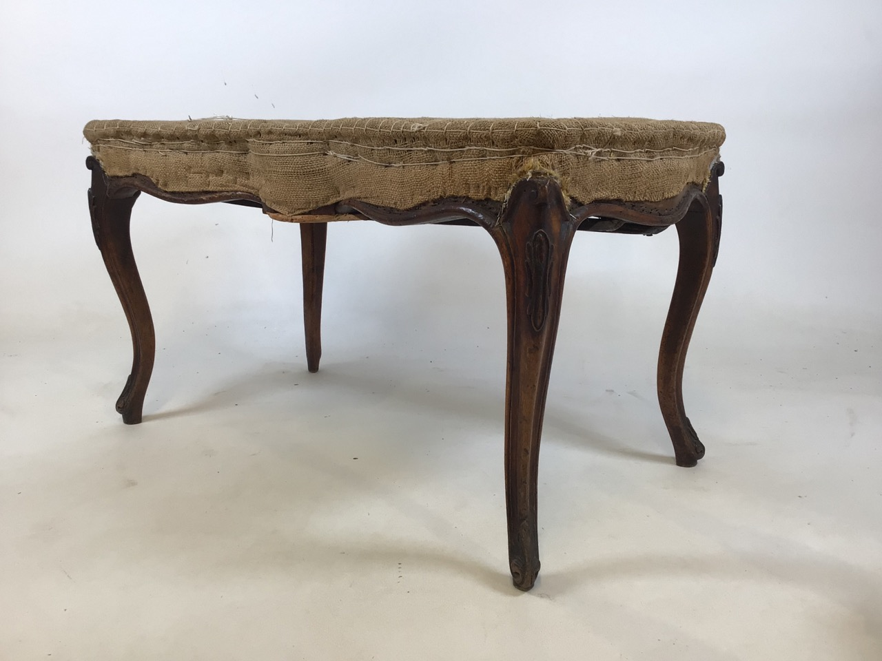 A duet stool with Queen Anne style legs, made from two chairs. W:82cm x D:45cm x H:45cm - Image 2 of 4
