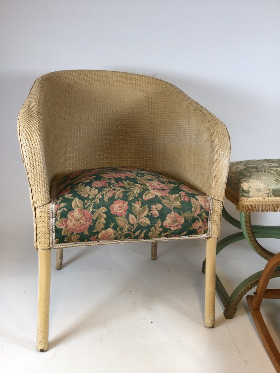 A Lloyd loom Lusty laundry basket also with a metal framed Lloyd loom style chair a bent wood childs - Image 4 of 6