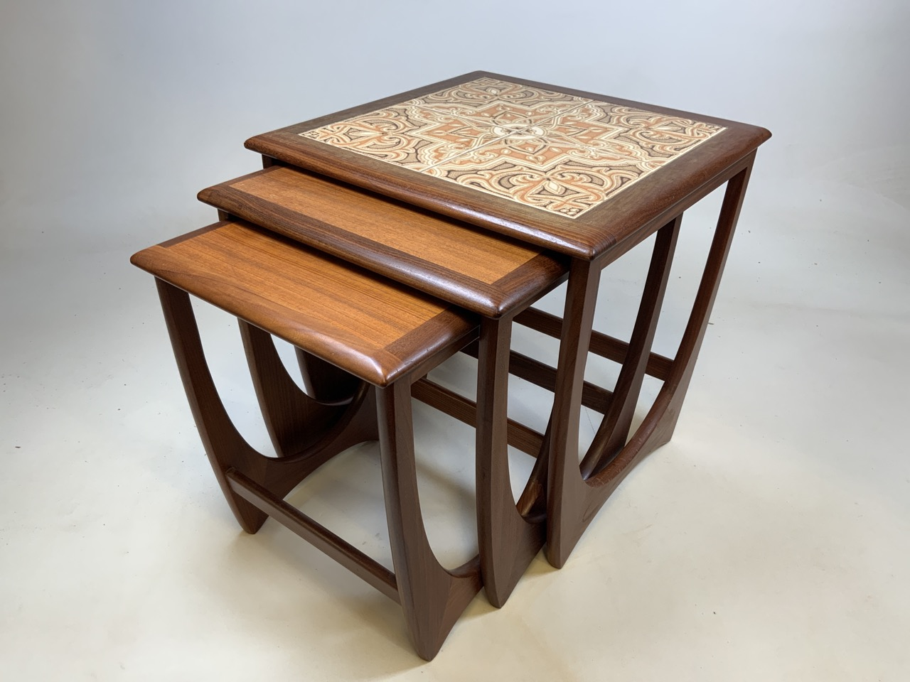 A G Plan mid century nest of three tables with tiled top table. W:50cm x D:50cm x H:51cm - Image 2 of 6