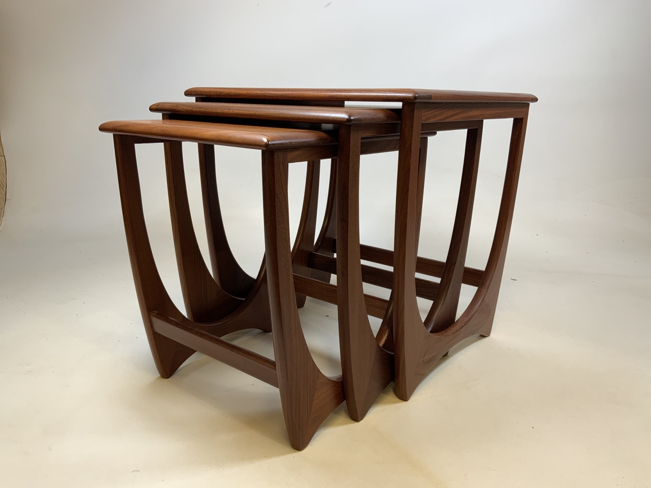 A G Plan mid century nest of three tables with tiled top table. W:50cm x D:50cm x H:51cm