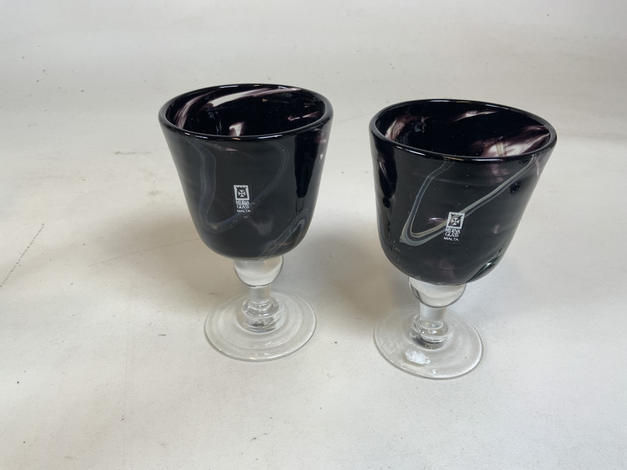 A pair of Italian glass and white metal topped claret jugs together with a pair of Medina glass - Image 3 of 4