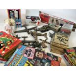 A large collection of vintage childrens toys - including matchbox cars and a Streak racing set, a