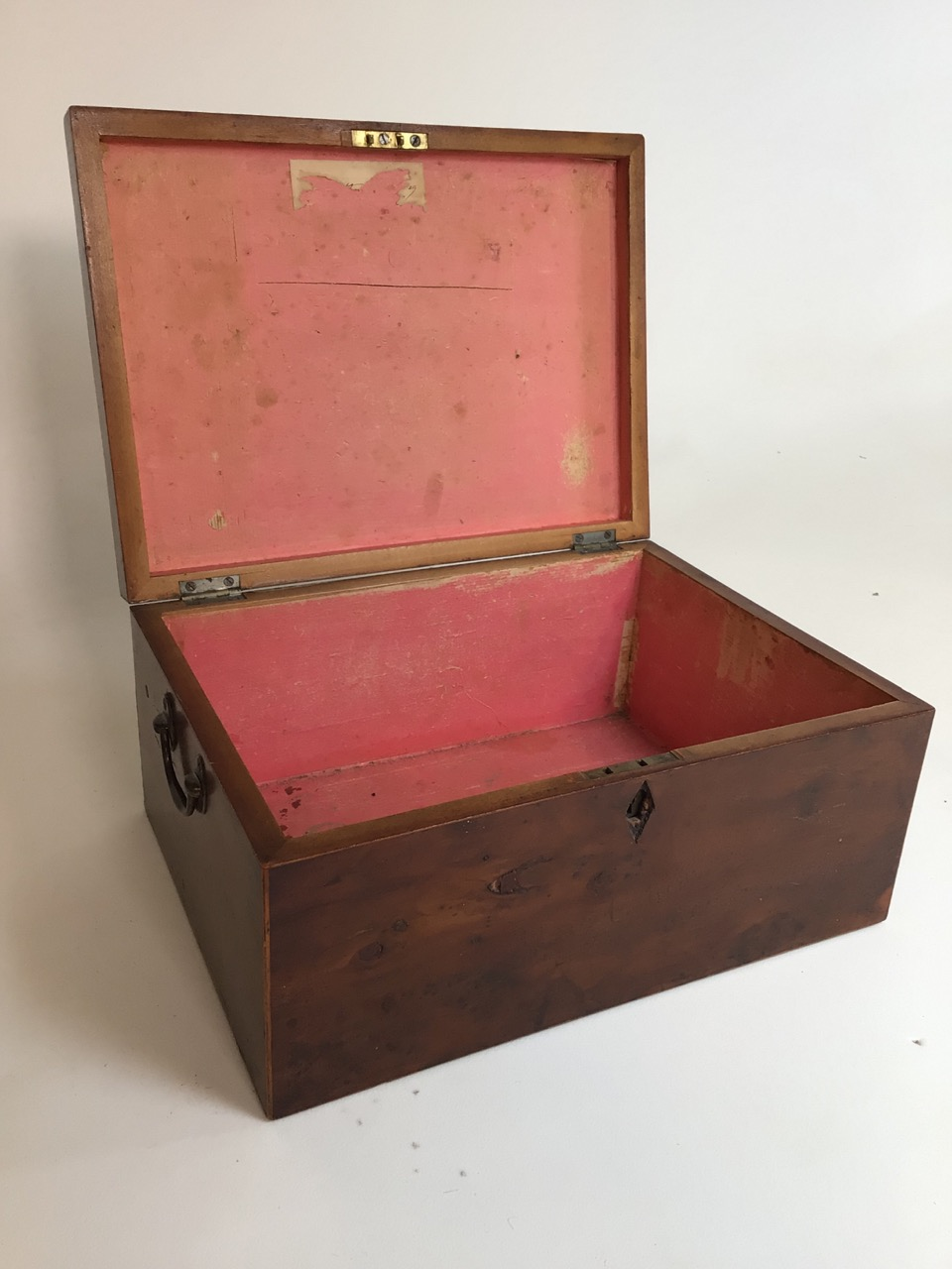 A Victorian parquetry walnut box with metal handles. W:33cm x D:24cm x H:15cm - Image 3 of 5