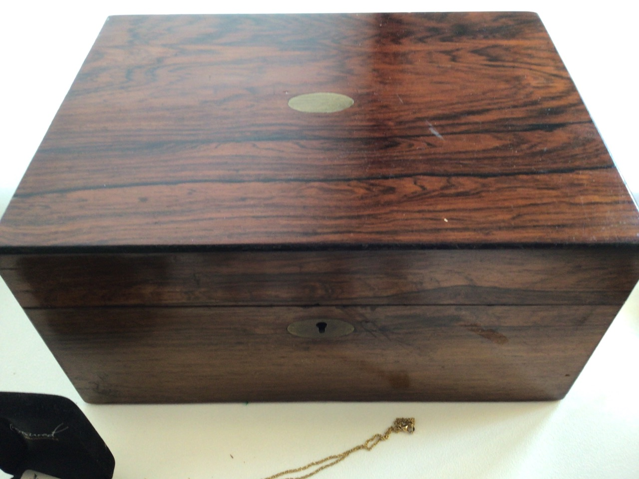 A Victorian rosewood inlaid jewellery box also with unmarked jewellery, pocket watches and silver - Image 2 of 4