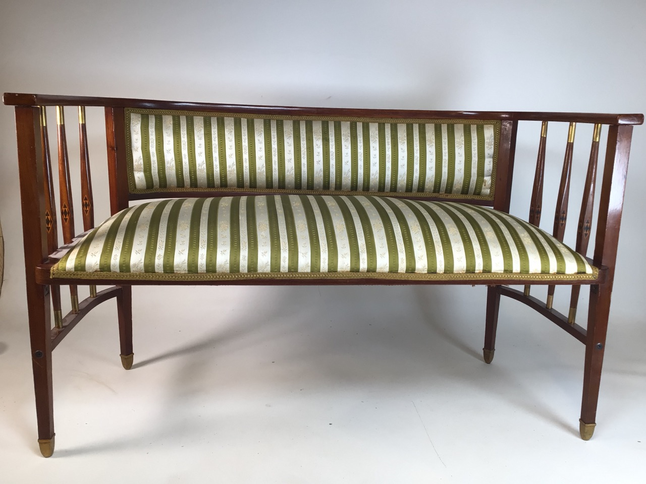 A Viennese secessionist mahogany and chequer inlaid parlour suite. - Image 3 of 12