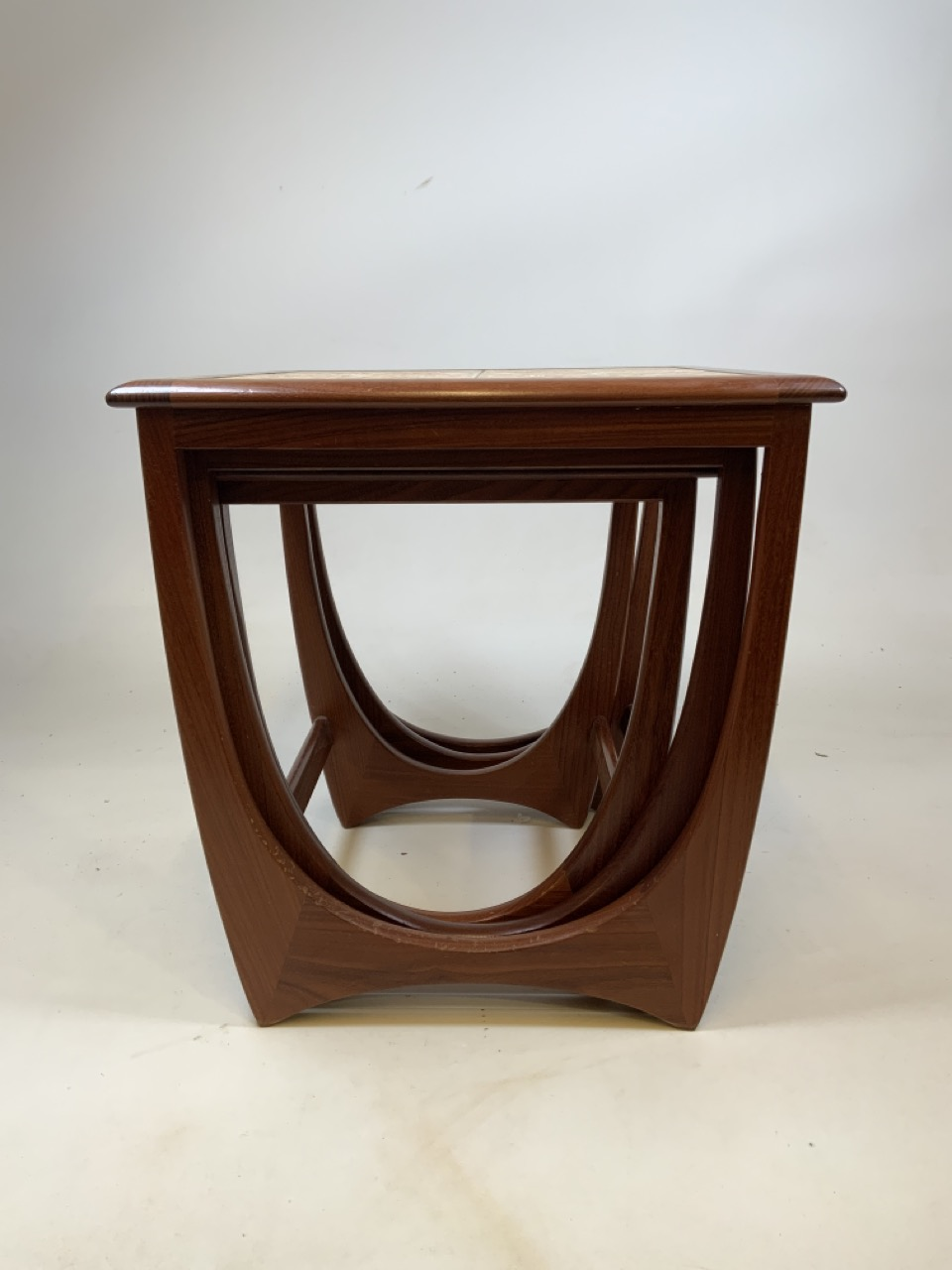 A G Plan mid century nest of three tables with tiled top table. W:50cm x D:50cm x H:51cm - Image 3 of 6