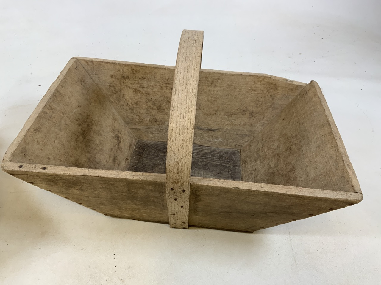 Two vintage French wooden flower trugs. One with bentwood handle and one with metal handle W:36cm - Image 5 of 5