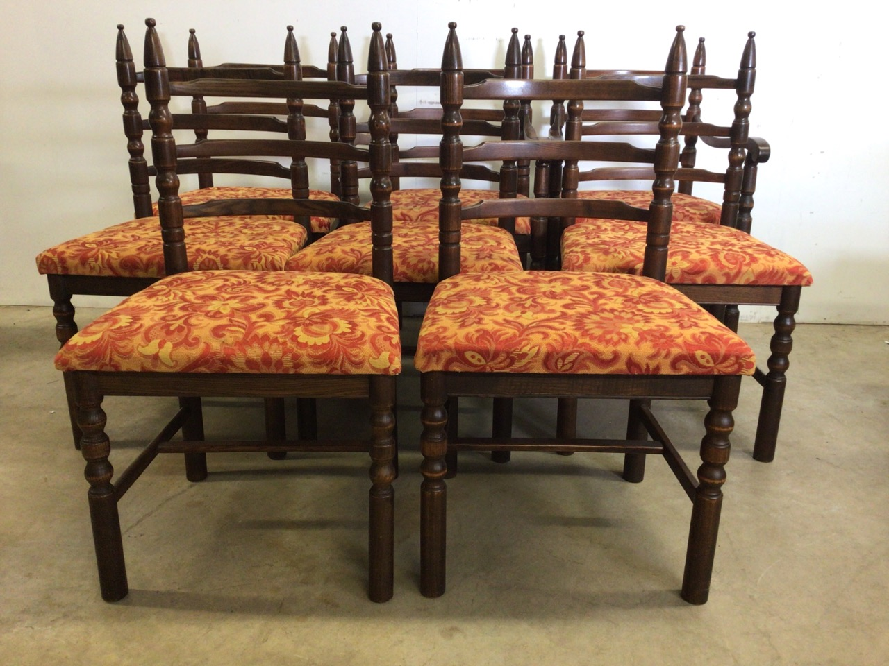 A set of eight mid century dining chairs by Younger. Seat height H:48cm