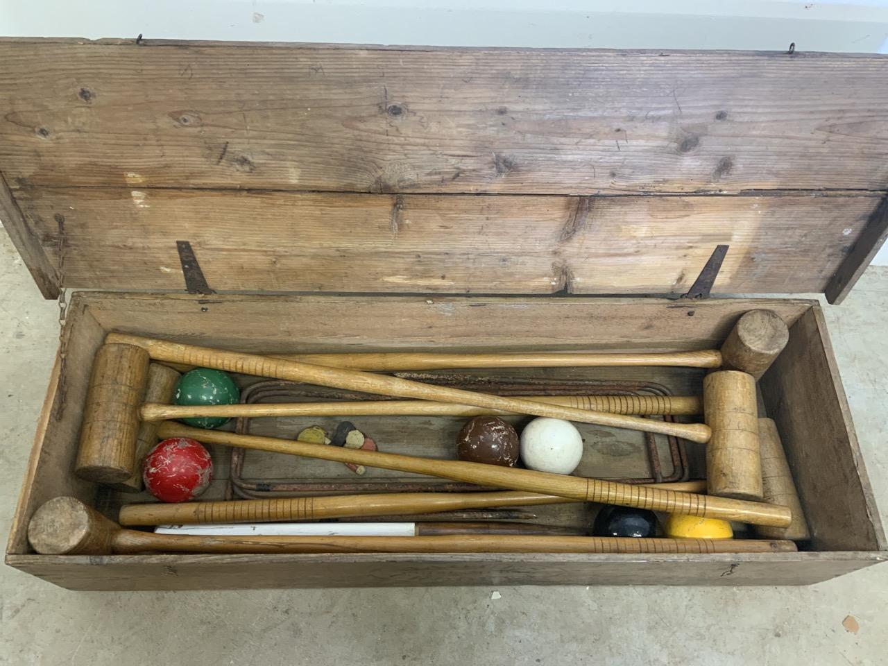 A vintage boxed Jacques croquet set, including six mallets, six hoops, six balls W:105cm x D:36cm - Image 3 of 3