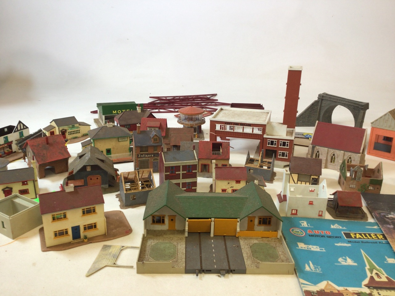 A large selection of railway outbuildings Triang Minic motorways and others.
