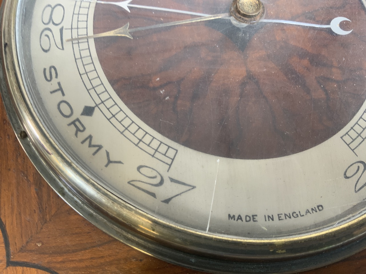 A wooden wall barometer with presentation plaque on reverse dated 1933 W:30cm x D:4.5cm x H:30cm - Image 2 of 3