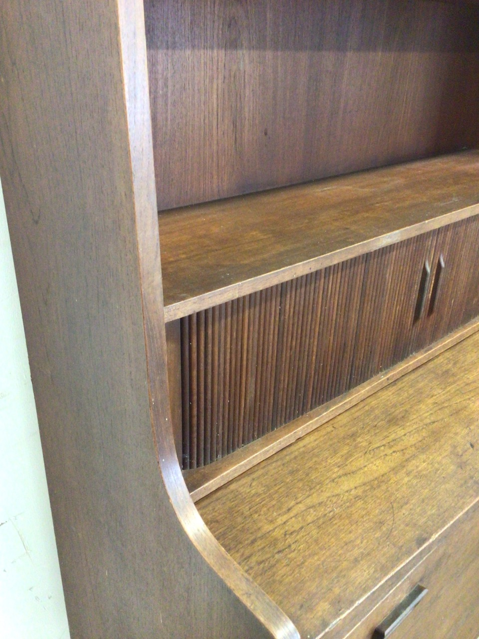 A mid century Danish sideboard with tambour front and three large drawers to base fitted interior. - Image 7 of 10