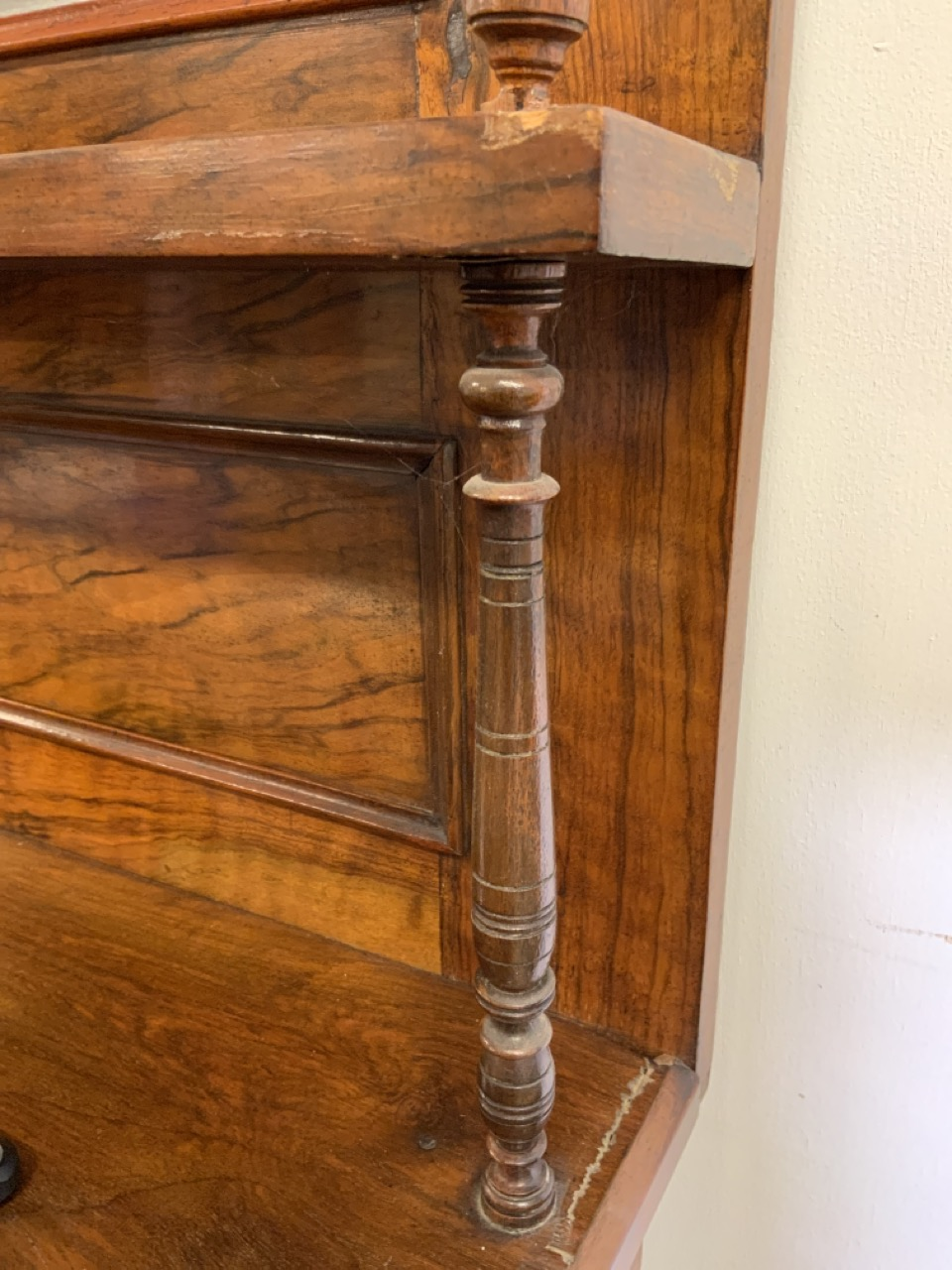 An inlaid walnut credenza with large double cupboard doors with interior shelf. With original mirror - Image 7 of 12