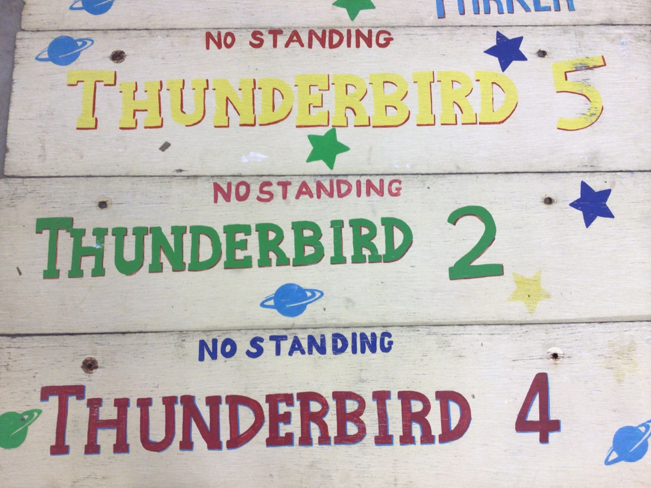 Seven Thunderbirds hand painted signs on wooden boards. W:129cm x H:30cm - Image 3 of 5