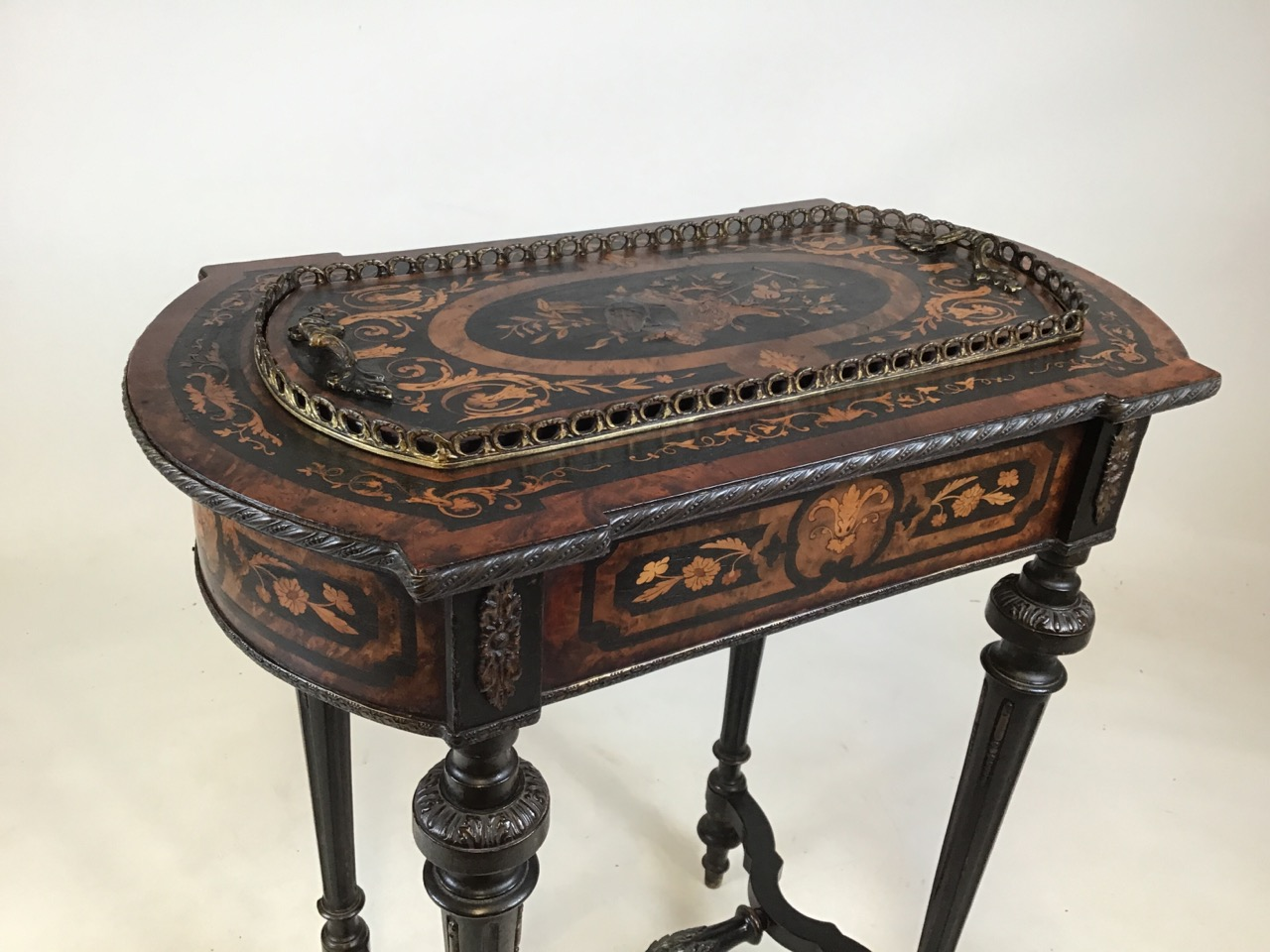 A 19th Century Dutch marquetry inlaid mahogany side table with tin lined lidded top possibly - Image 2 of 8