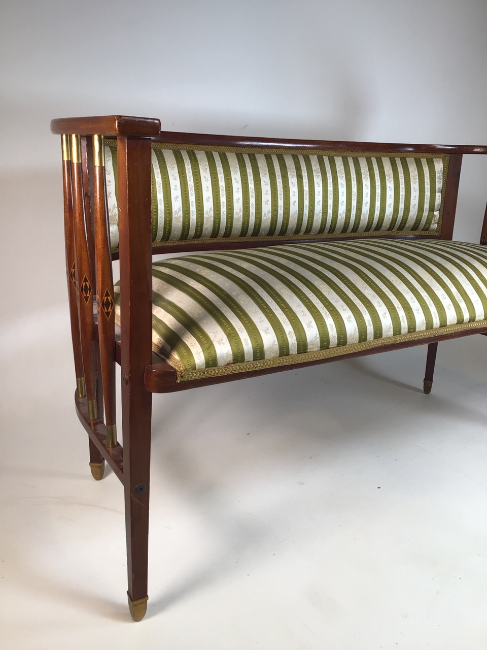 A Viennese secessionist mahogany and chequer inlaid parlour suite. - Image 11 of 12