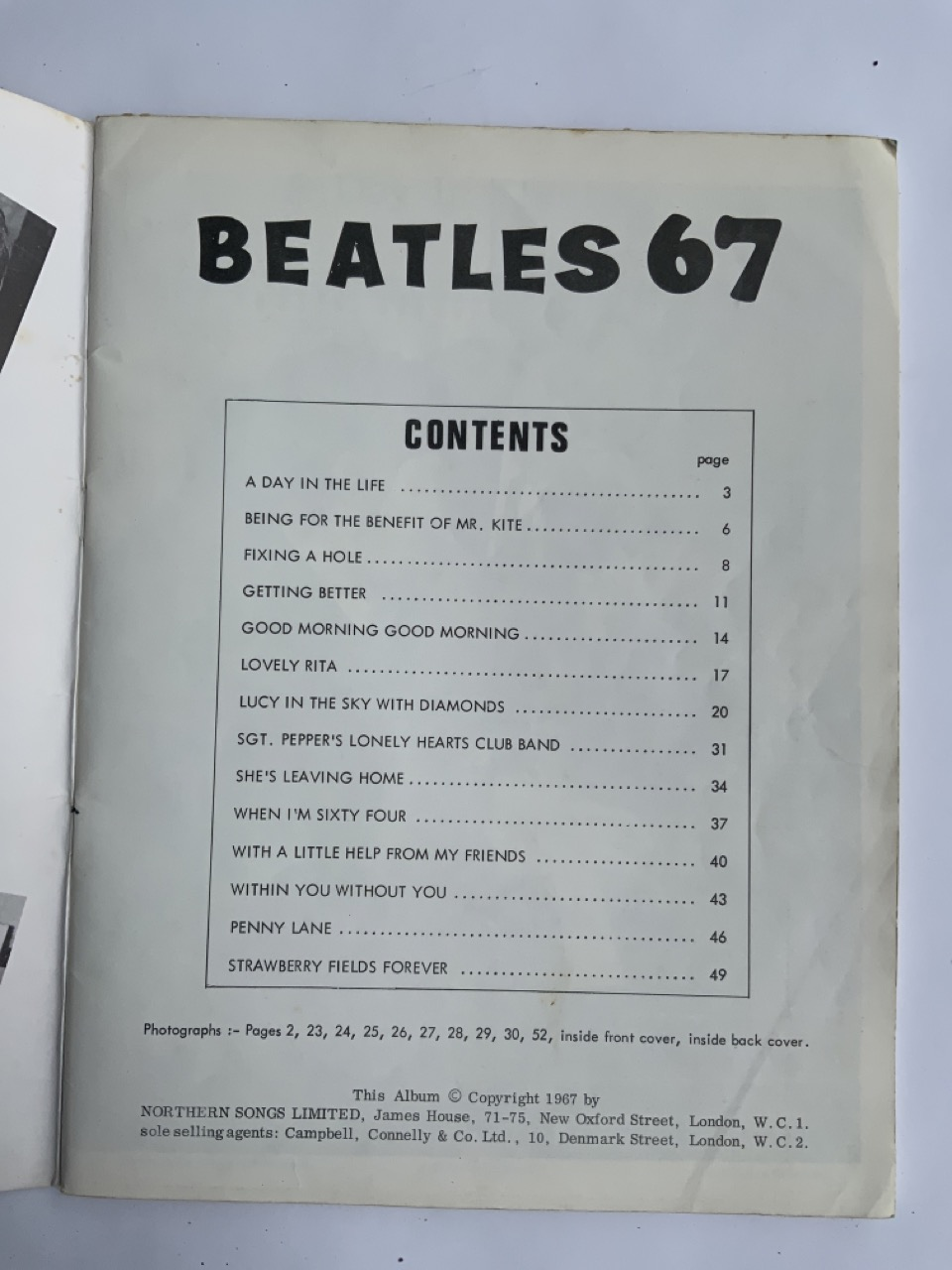 The Beatles 1967 song book contains all songs from SGT. Pepper Lonely Heart Club Band plus - Image 3 of 8