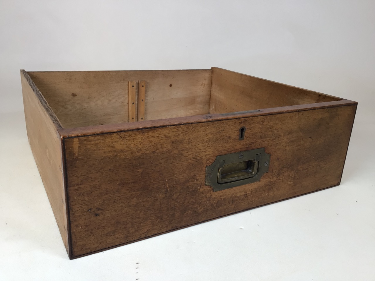A 19th century mahogany two part military campaign chest of drawers. Lower section with two long - Image 8 of 11