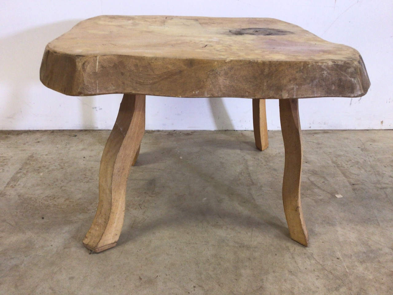 A rustic square coffee table, with 3 inch oak top. W:64cm x D:64cm x H:47cm - Image 2 of 5