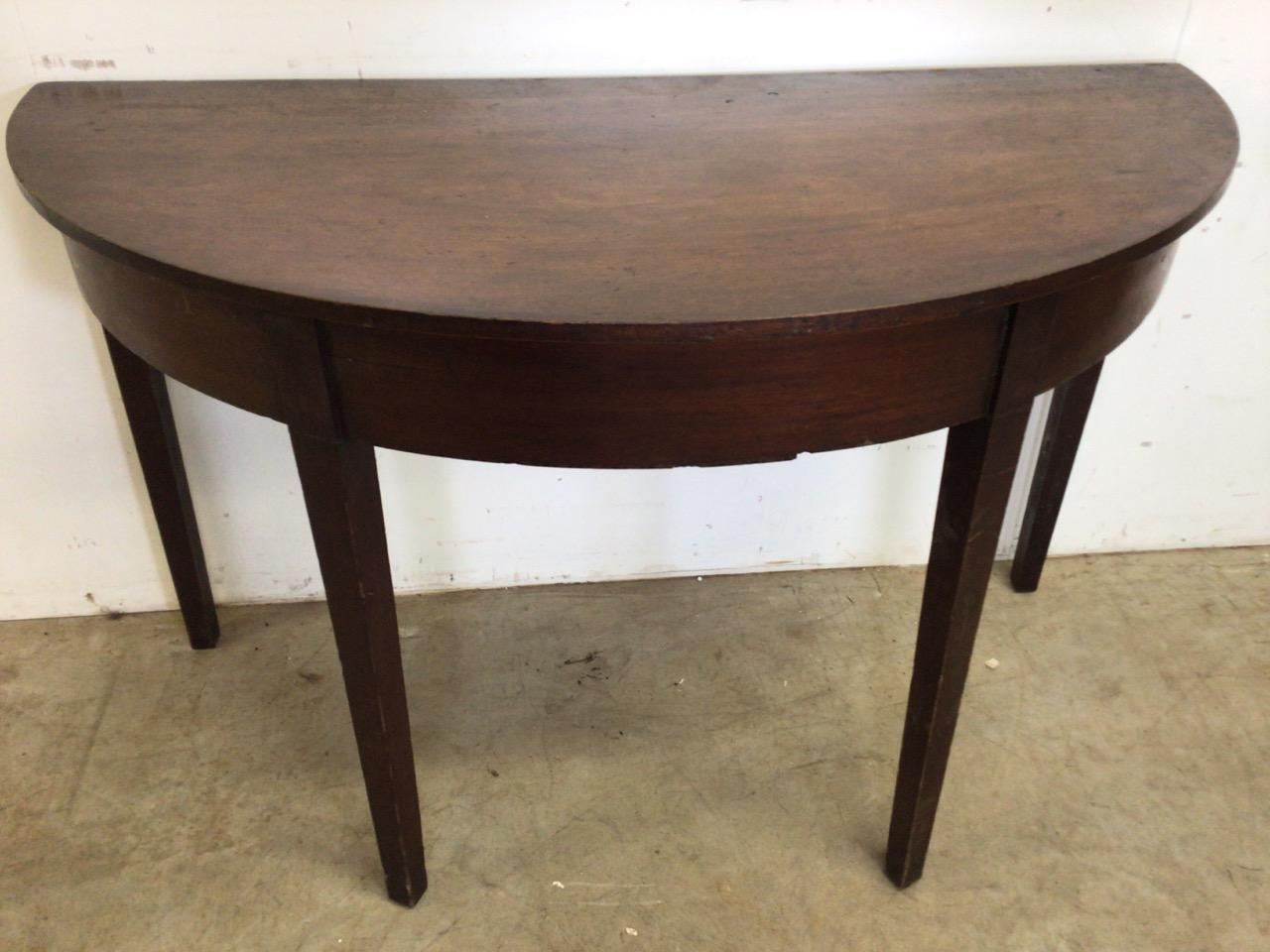 A Victorian mahogany D end table. W:121cm x D:58cm x H:73cm - Image 3 of 5