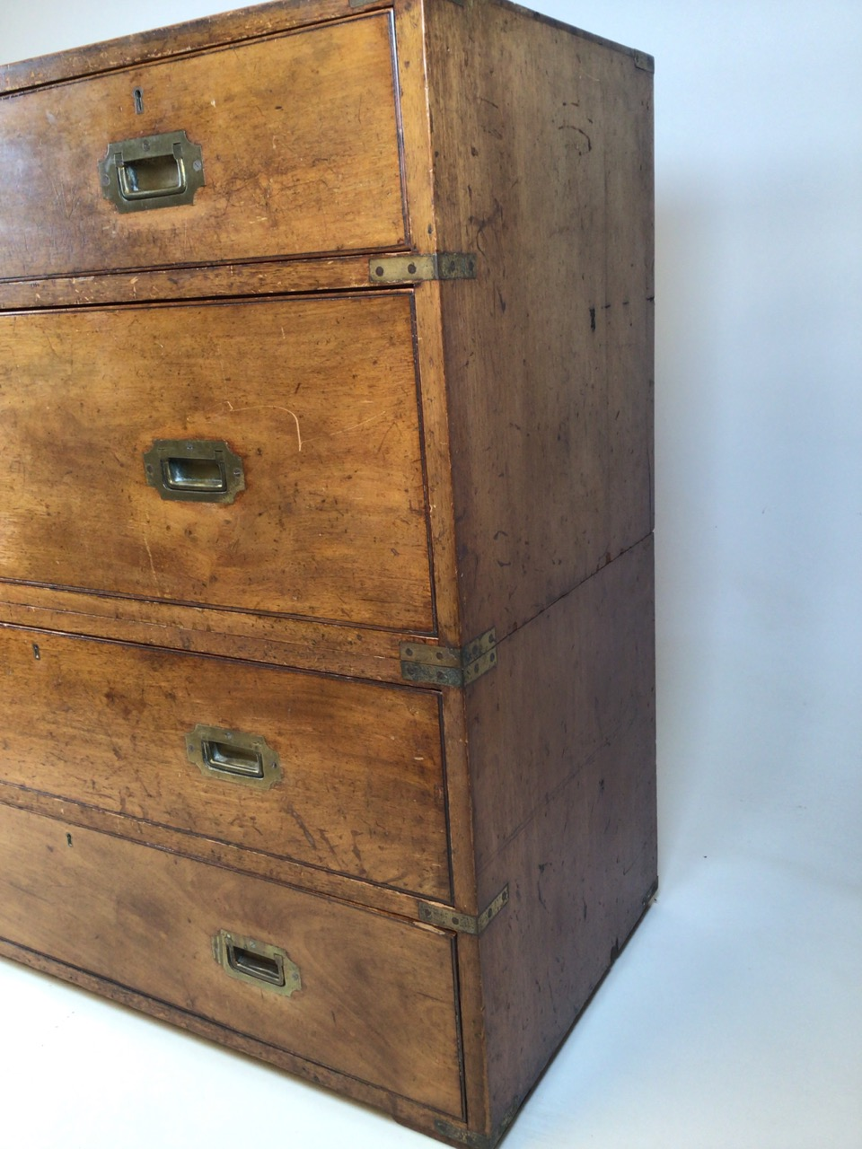 A 19th century mahogany two part military campaign chest of drawers. Lower section with two long - Image 2 of 11
