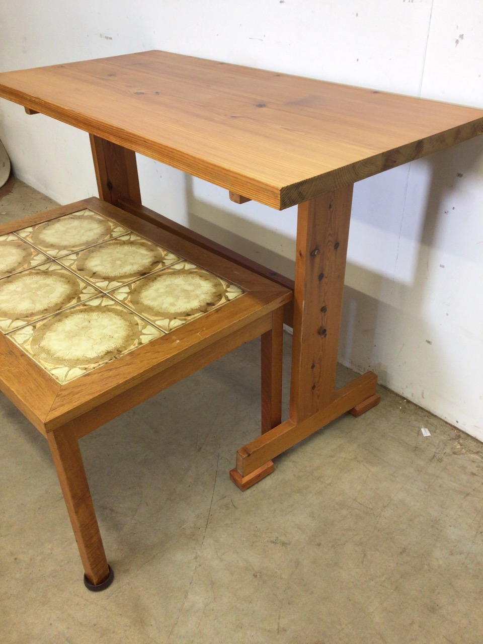A pine table also with a tiled topped coffee table. W:107cm x D:52cm x H:74cm - Image 2 of 4
