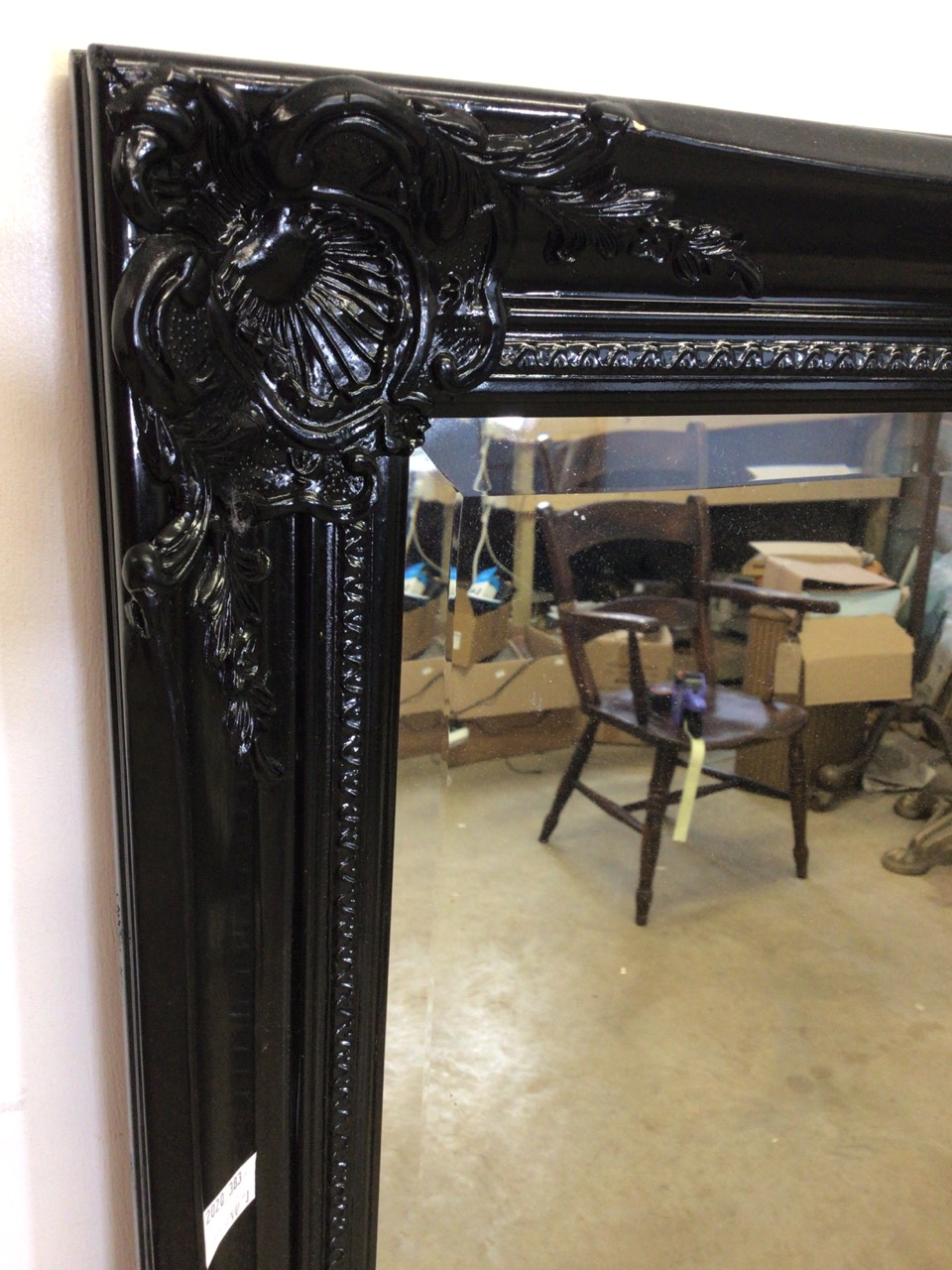A modern black decorative baroque style mirror with bevelled edge also with another modern mirror. - Image 3 of 4