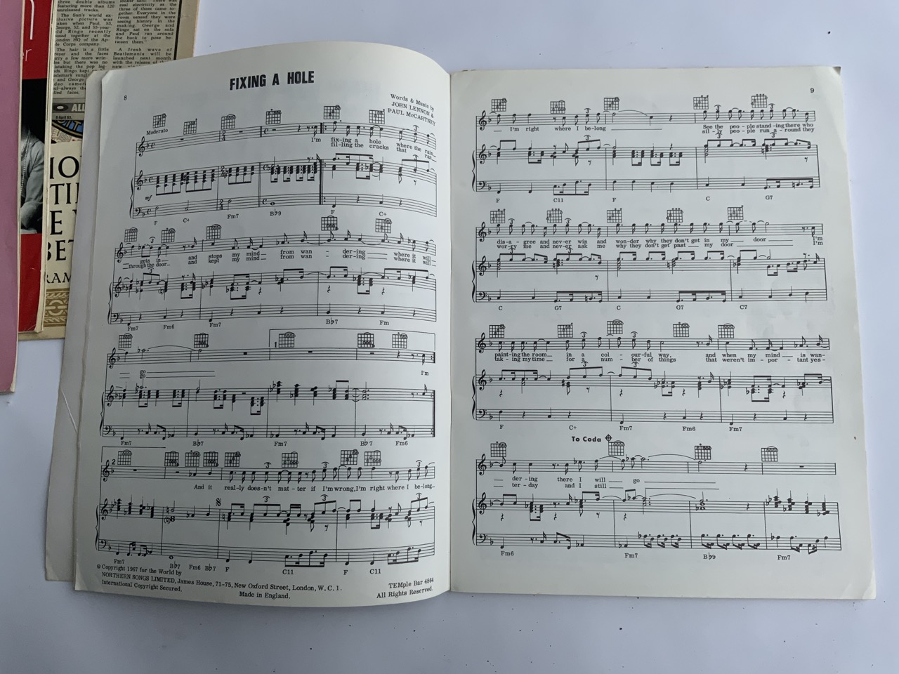 The Beatles 1967 song book contains all songs from SGT. Pepper Lonely Heart Club Band plus - Image 4 of 8
