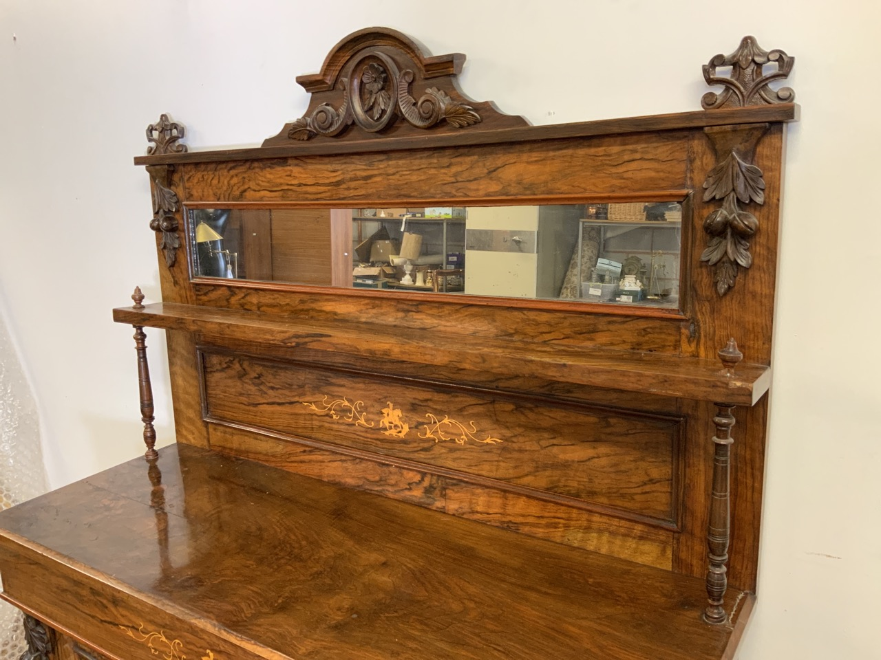 An inlaid walnut credenza with large double cupboard doors with interior shelf. With original mirror - Image 2 of 12
