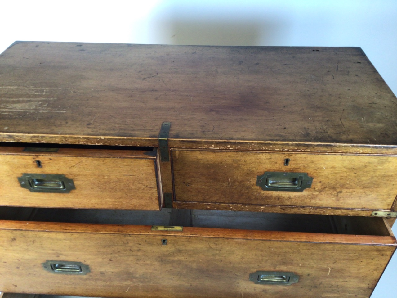 A 19th century mahogany two part military campaign chest of drawers. Lower section with two long - Image 7 of 11