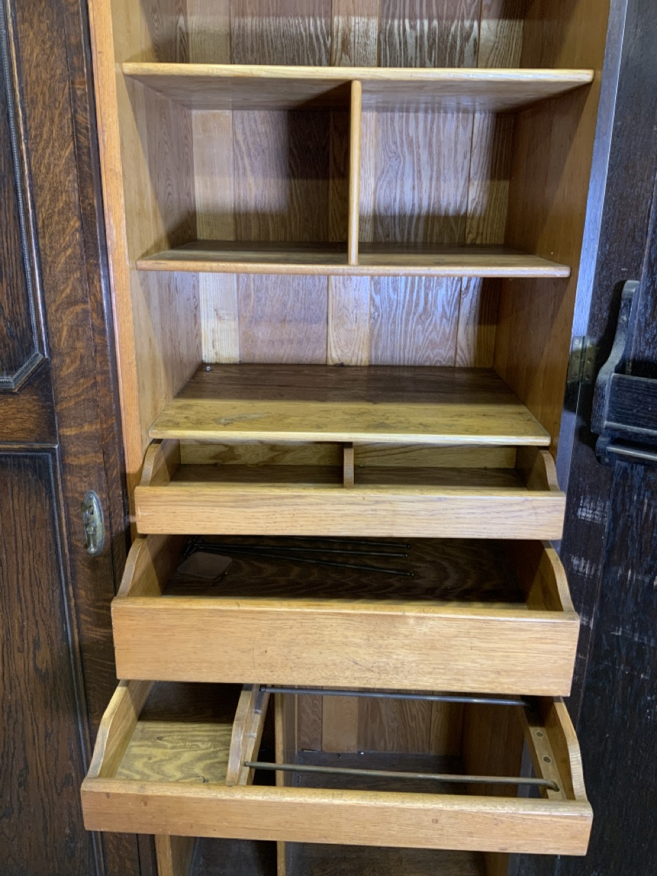 An early 20th century gentleman's oak double wardrobe by Awlyn furniture with fitted shelves, - Image 4 of 10