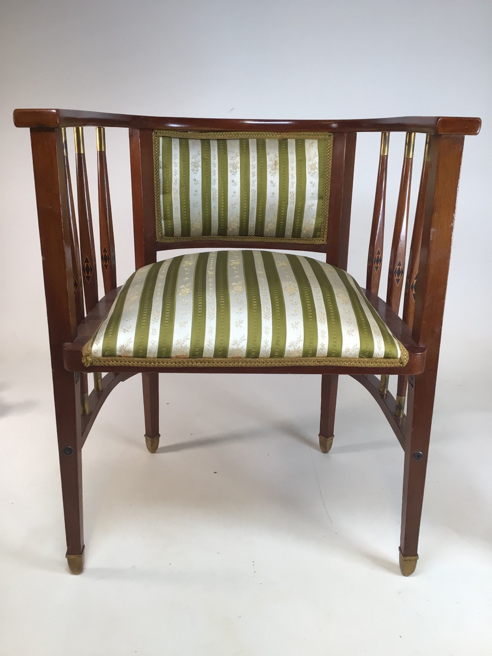 A Viennese secessionist mahogany and chequer inlaid parlour suite. - Image 6 of 12