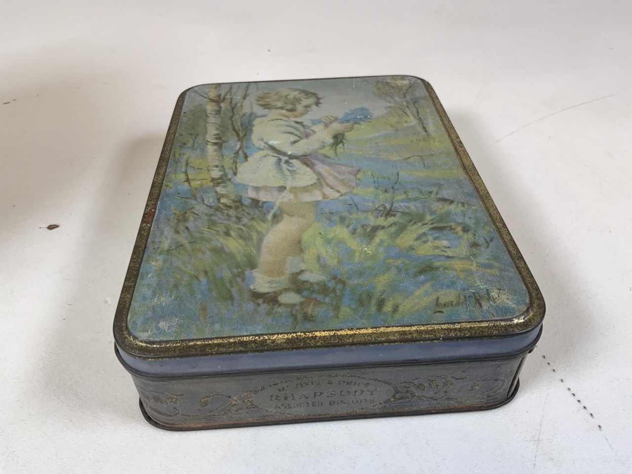 An enamel flour storage tin together with a Huntley and Palmer Muffin the Mule tin, a William - Image 4 of 7