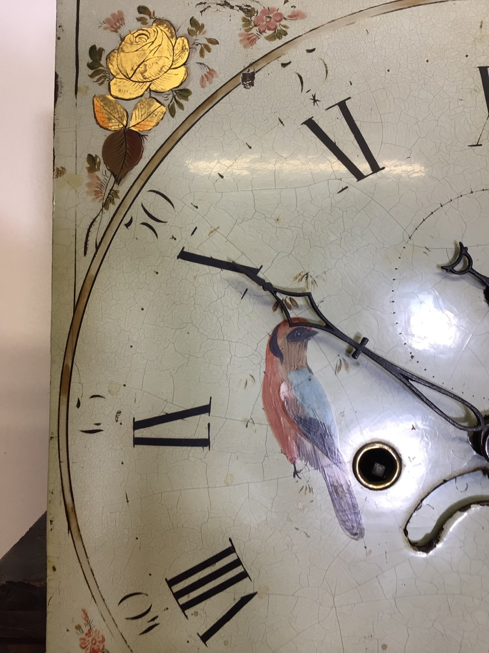 An 8 day mahogany longcase clock with weights and pendulum and key with painted face depicting birds - Image 7 of 10