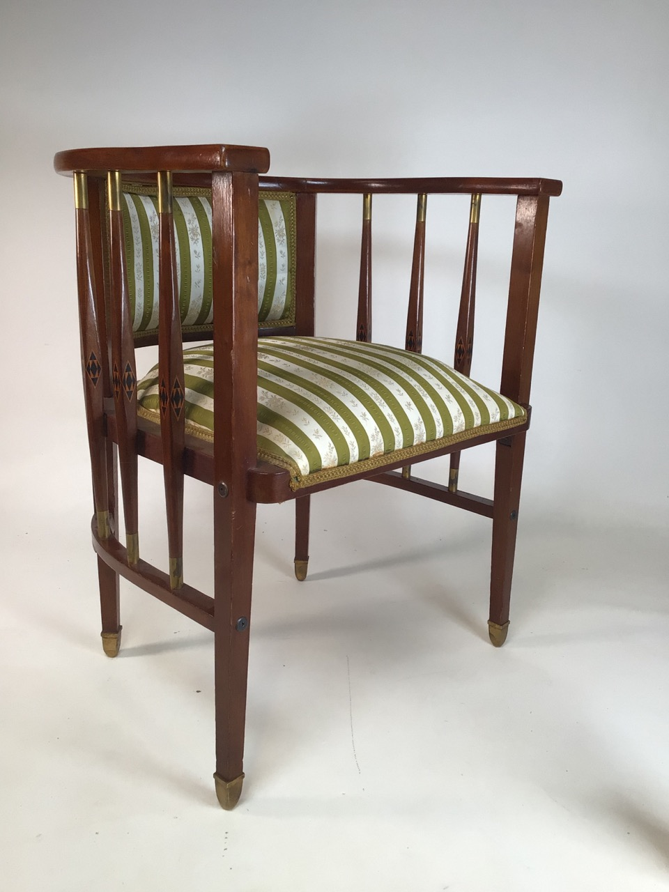 A Viennese secessionist mahogany and chequer inlaid parlour suite. - Image 8 of 12