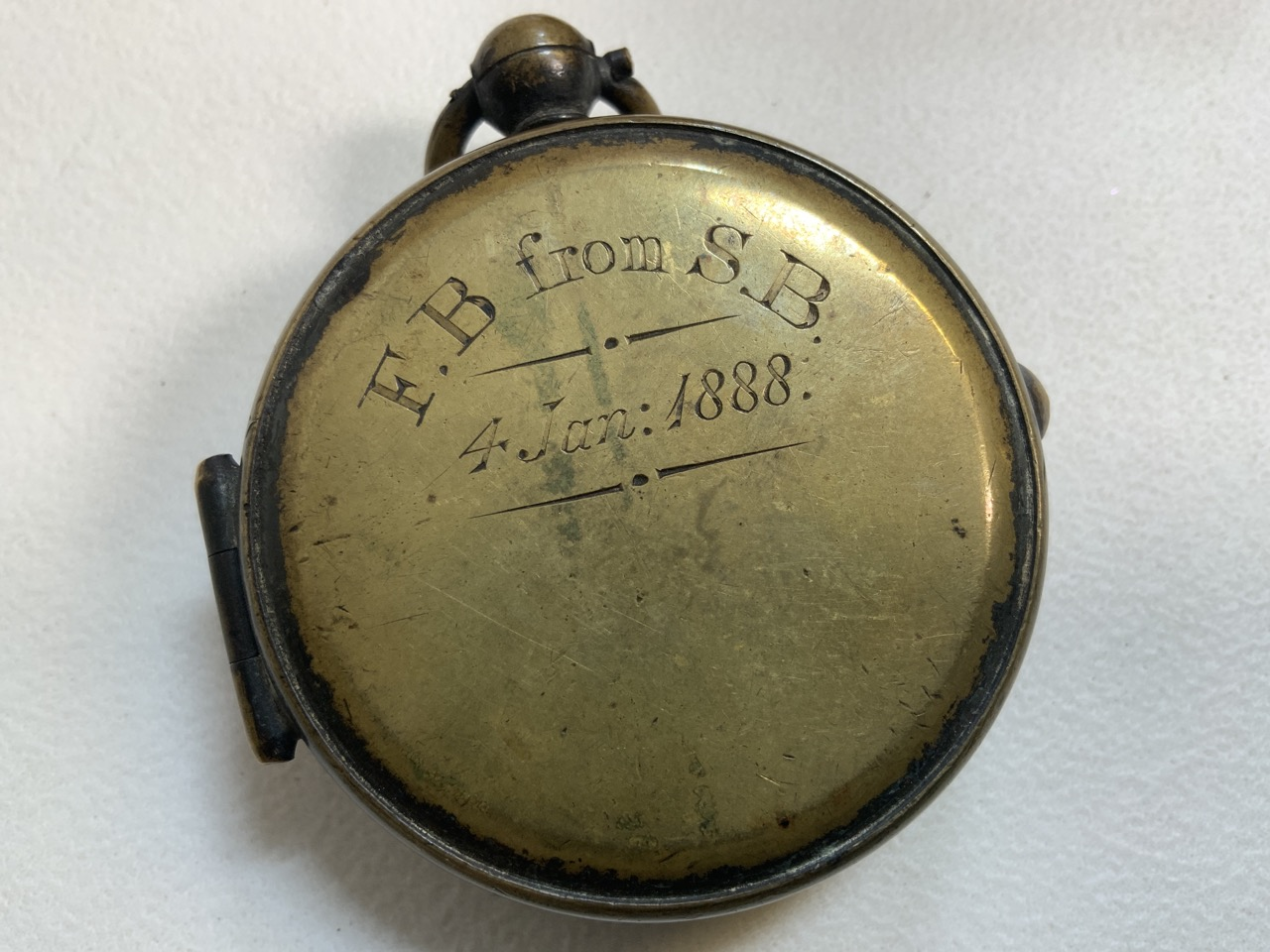 A Victorian brass pocket compass also with a brass snuff box. - Image 3 of 5