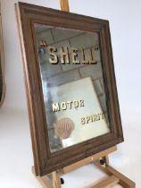 A rare Shell Motor Spirit advertising mirror in original frame. W:47cm x H:52cm