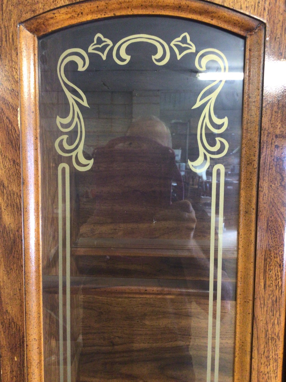 A reproduction glazed two piece display cupboard with decorated glass and cupboard beneath. W: - Image 4 of 5