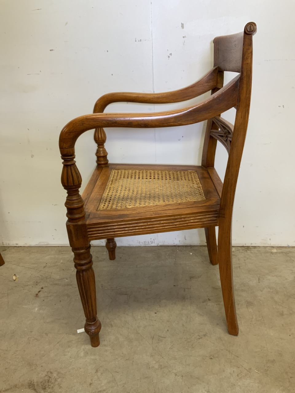 A pair of rattan seated bent wood bar back armchairs. One arm loose. Seat height H:45cm - Image 3 of 6