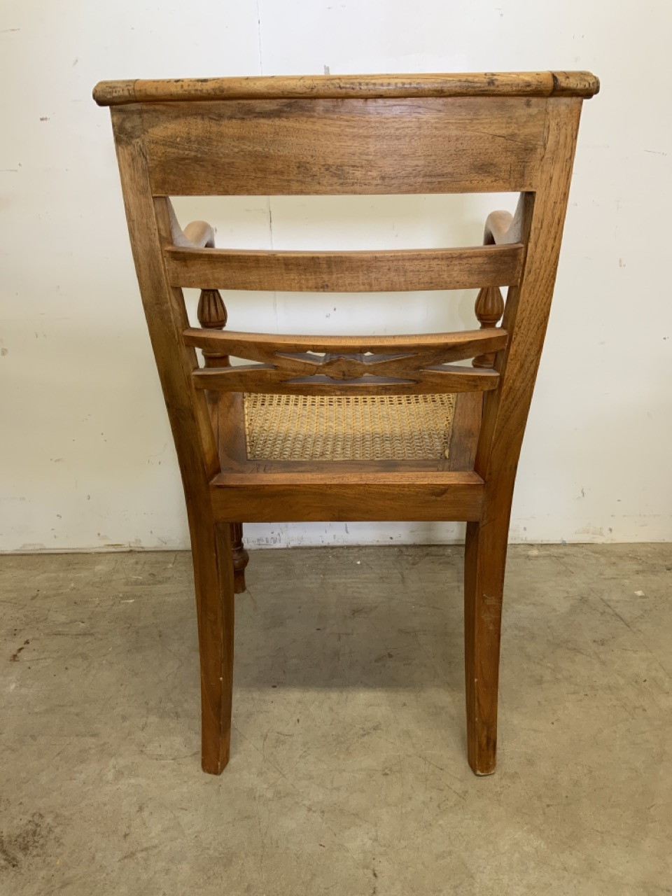 A pair of rattan seated bent wood bar back armchairs. One arm loose. Seat height H:45cm - Image 4 of 6