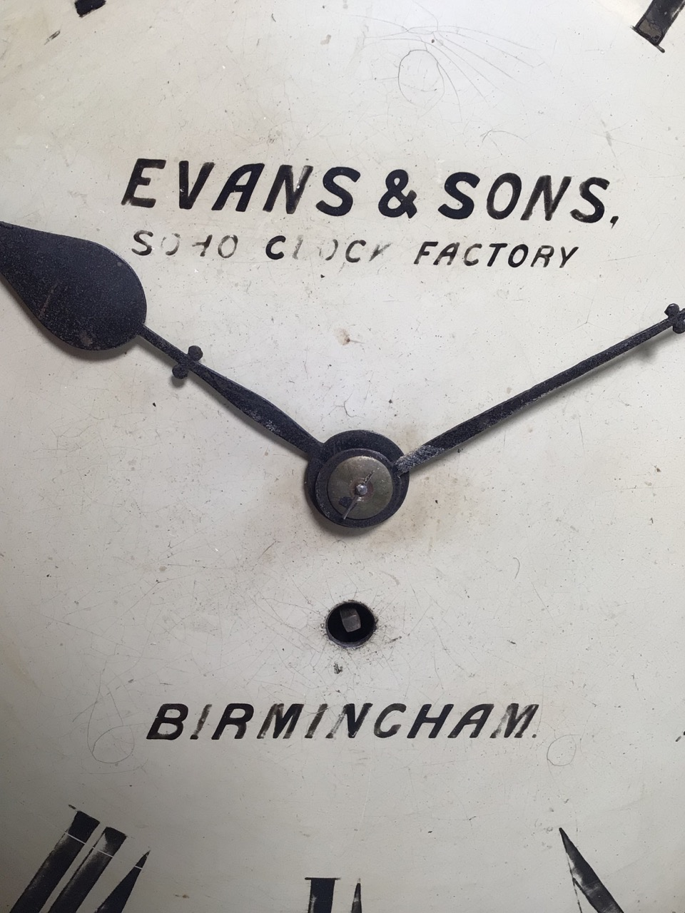 An Evans and sons Birmingham circular Fussee wall clock. Soho clock factory with oak case. Missing - Image 2 of 6