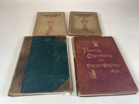 A collection of books cricketing interest. Famous Cricketers and Cricket Grounds 1895 and