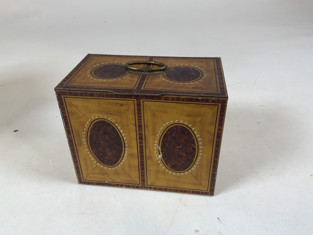 An enamel flour storage tin together with a Huntley and Palmer Muffin the Mule tin, a William - Image 5 of 7