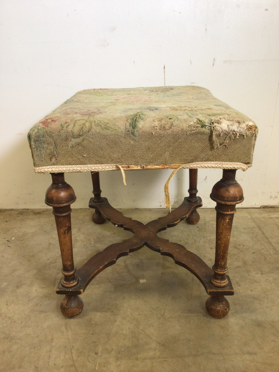 A Victorian mahogany upholstered stool with turned legs and X frame stretcher bar to base. With - Image 3 of 5