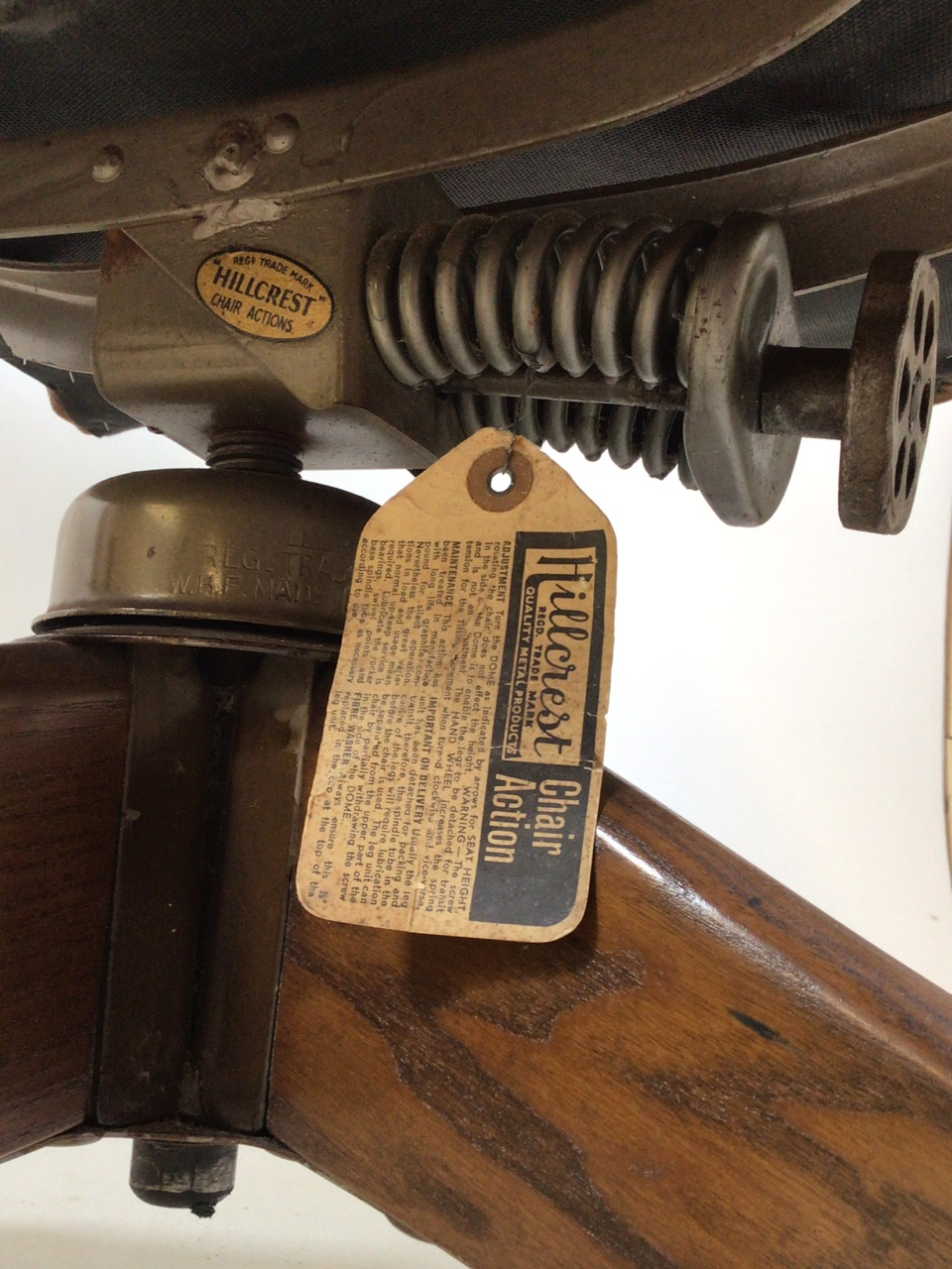 A Hillcrest mid century swivel office chair with Hillcrest label to metal base on oak stand with - Image 5 of 5