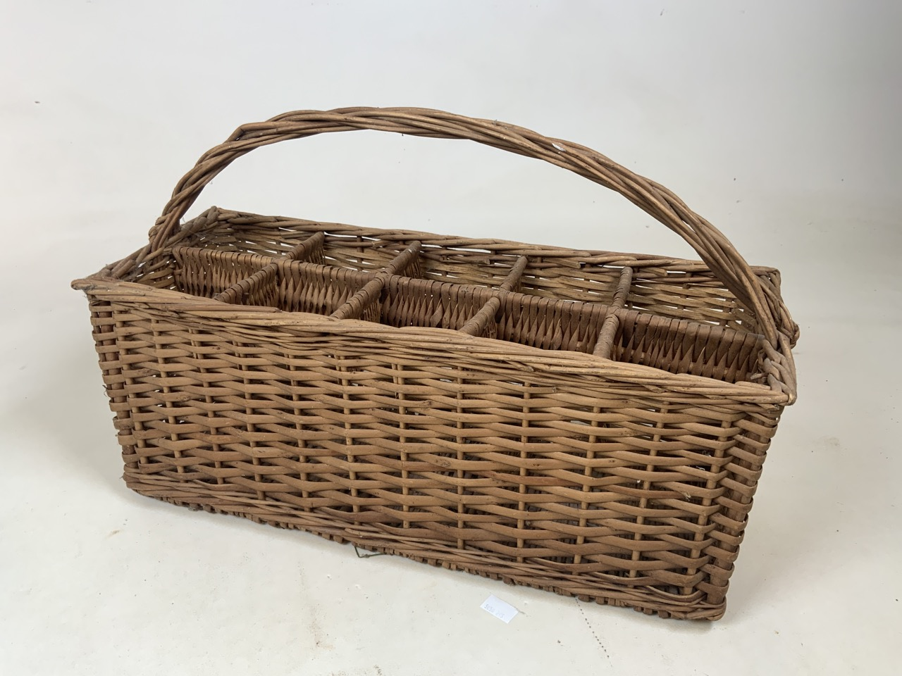 A vintage wicker ten bottle carrier together with Royal Doulton Parquet design tea cups and - Image 2 of 3